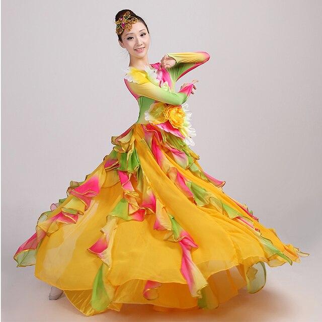 58842cfb7cfb Spanish Bullfight Belly Dance Dress Skirt Long robe Flamenco fille Skirts  yellow Flamenco Dresses For Women Girls