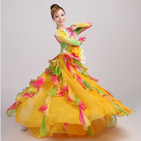 Spanish Bullfight Belly Dance Dress Skirt Long robe Flamenco fille Skirts yellow Flamenco Dresses For Women Girls