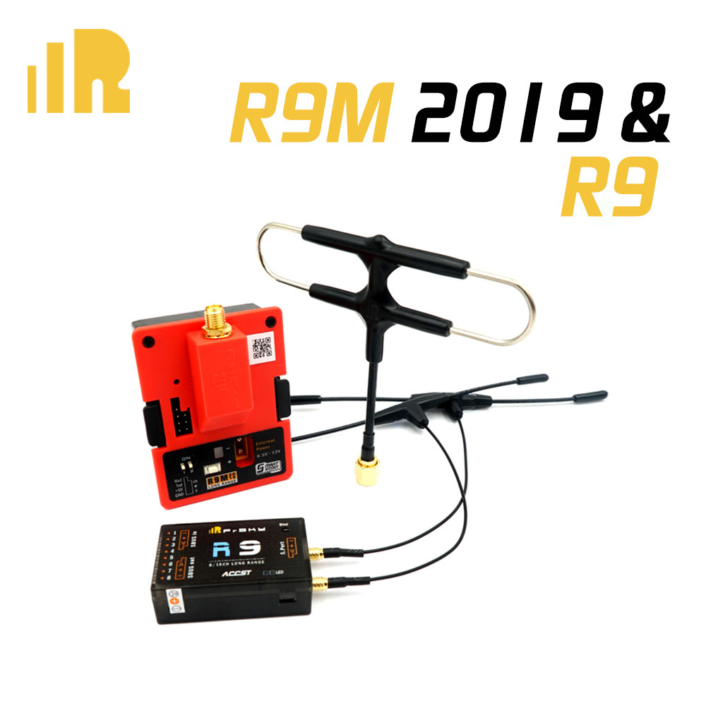 FrSky R9 900MHz 16CH Long Range Receiver & R9M 2019 Module System with mounted Super 8 and T antenna-in Parts & Accessories from Toys & Hobbies