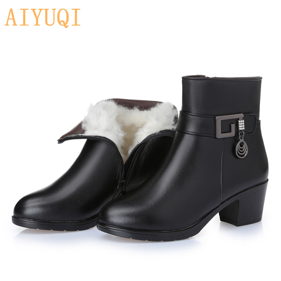 Genuine Leather women boots  2019 winter thick wool lined genuine Leather women snow boots large size women winter shoes