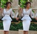 Elegant V Neck Long Sleeve White Cocktail Dress 2017 Short 2 Piece Cocktail vestidos de fiesta Party Dresses  Knee Length