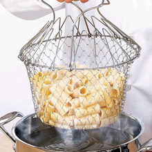 1PC Foldable Steam Rinse Strain Fry French Chef Oil Basket Mesh Strainer Net Kitchen Cooking Tool OK 0962