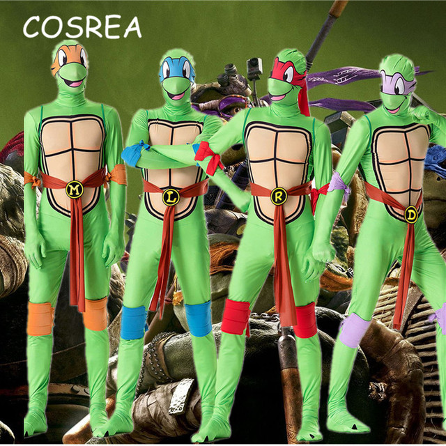13cb4e6a658 US $38.32 20% OFF|TMNT Teenage Mutant Ninja Turtles Leo Raph Mike Don  Cosplay Costume Zentai Suit Adults Men Jumpsuits Mask Shell Weapon  Halloween-in ...