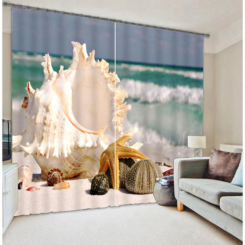 Beach Blackout curtains 3d printing large conch-dimensional effectBeach Blackout curtains 3d printing large conch-dimensional effect