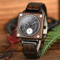 Bobo Bird Fashion Square Wooden Watch Men Japanese Seiko Movement Unique Luxury Brand Waterproof Quartz Wristwatch Gifts For Men