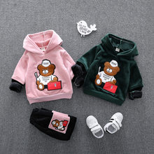 Winter Baby Thick Clothes Set Long Sleeve 1-3Y Boys Girls Hooded Fleece Sweatshirt+ Pants 2pcs Sport Warm Suits Kids Clothing(China)
