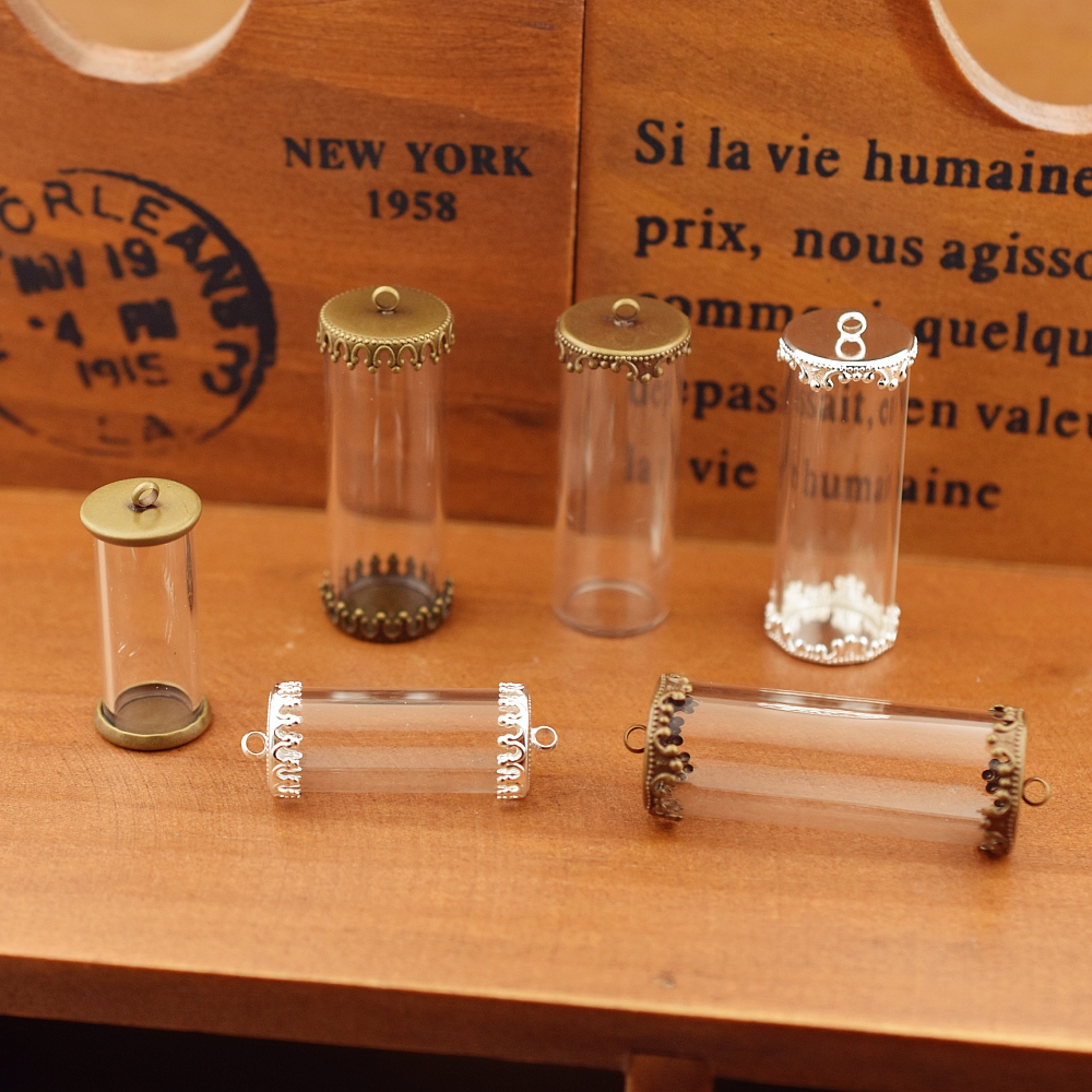 5set hollow glass tube with setting base vials pendant bottle jewelry globe findings 40*15mm 28*12mm