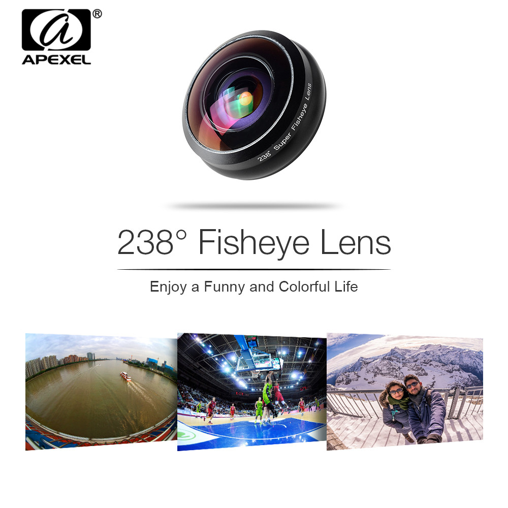 APEXEL Professional 238 Degree Super Fisheye Phone Lens 0.2X Full Frame Wide Angle With Specific Lens case For iPhone X XS PAPEXEL Professional 238 Degree Super Fisheye Phone Lens 0.2X Full Frame Wide Angle With Specific Lens case For iPhone X XS P
