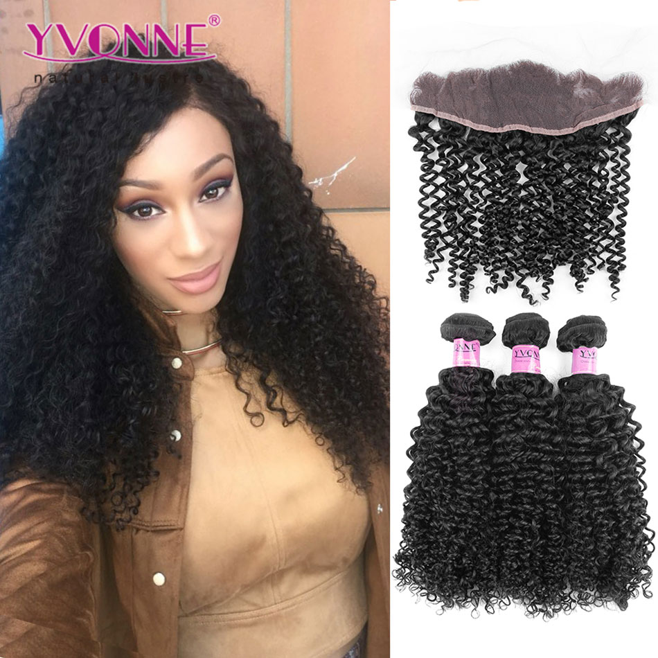 Malaysian Curly Hair YVONNE Brazilian Lace Frontal Closure With Bundles, 1Pcs Lace Frontal 13.5x4 With 3Pcs Human Hair Bundles