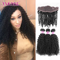 Malaysian Curly Hair YVONNE Brazilian Lace Frontal Closure With Bundles,1Pcs Lace Frontal 13.5x4 With 3Pcs Human Hair Bundles