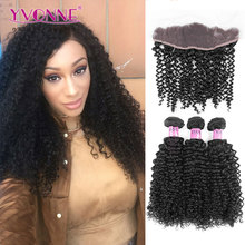 Malaysian Curly Hair YVONNE Brazilian Lace Frontal Closure With Bundles,1Pcs Lace Frontal 13.5×4 With 3Pcs Human Hair Bundles