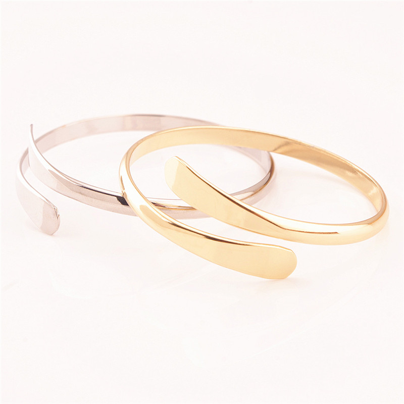 Rose Gold/ Silver Color Open Cuff Bracelet Bangles For Women Copper Jewelry Fashion Love pulseras bijoux femme Z3