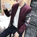 New Bomber Jacket 2016 Fashion Designer Print Patchwork Jacket Men Autumn Korean Slim Fit Long Sleeve Men Coats Mens Clothing