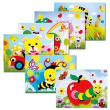 Adesivo de animais dos desenhos animados 3d diy, 20 desenhos, eva, série, quebra-cabeça, aprendizagem precoce, brinquedos de educação para crianças