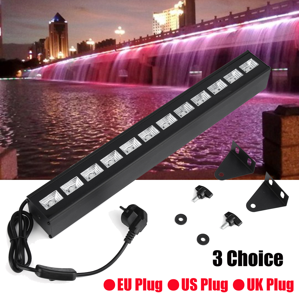 1PC 36W 12 LED Wall Washer LED UV Stage Light Bar Black Disco Blacklight Lamp For DJ Party Christmas Decoration EU/UK/US Plug