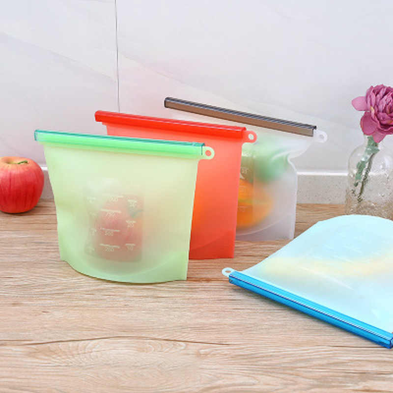 Reusable Vacuum Silicone Food Bag Sealer milk Fruit Meat Storage Bags Fridge Food Storage Containers Refrigerator Bag