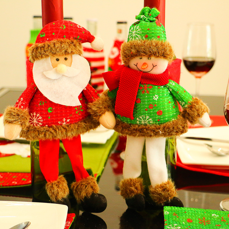 The New Navidad Long Legs Red Bottle Sets Santa Claus/Snowman Hotel Dining Table Decorat ...