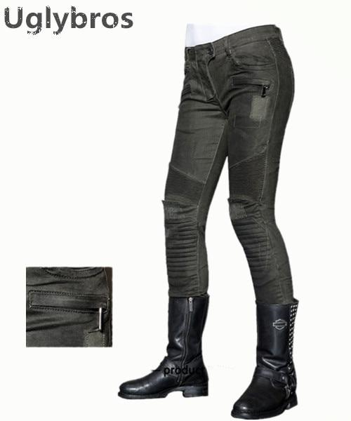 Uglybros MOTORPOOL UBS012 Jeans Gun Green Motorcycle Pants Women s moto Pants Motorcycle Protective Jeans size