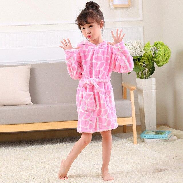 cd48a4f6c8 High Quality Soft Warm Flannel Bathrobes Nightwear Pajamas Boys Bathrobe  Kid Bath Robe Cute Cartoon Owl Girls Home Wear Clothing