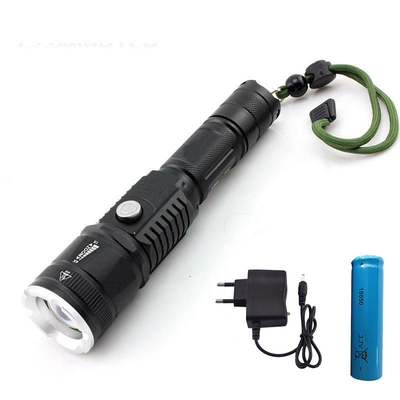 High Power Led Flashlight Cree Xml T6 Zoomable Torch Lamp Tactical Aaa Battery Linternas Flash Light +18650 Battery + Charger