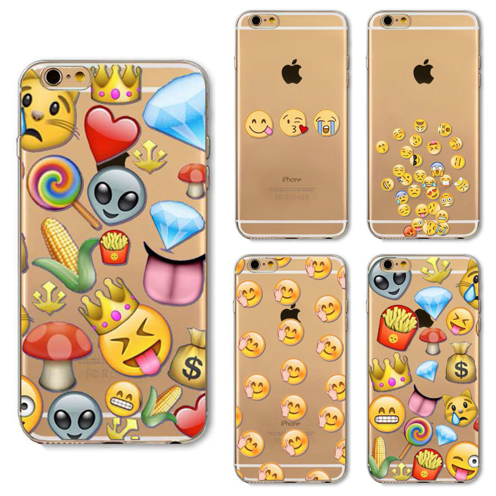 New Emoji Case For iPhone 6 6s Ultra Thin Clear TPU Case Cover Cool Smiley Faces Emoji Funky Design Tie Dye Alien Pizza 2016