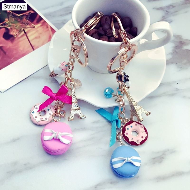 Macarons Cake Keychain Keychains With France Paris LADUREE Effiel Tower Macarons Ribbon Keyrings Bag Charm Gift Accessories 1502