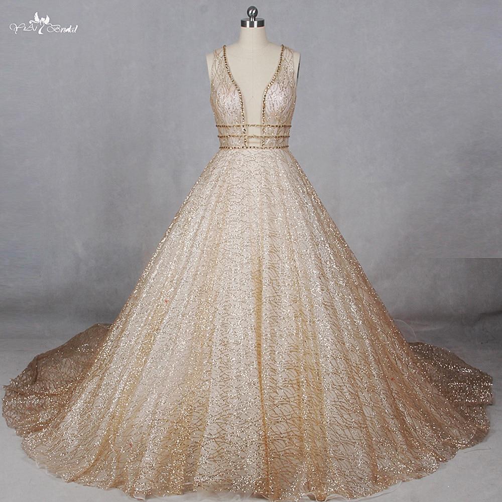 RSW1100 Foto Reali Shiny Robe De Mariee Principessa Gold Glitter Abiti Da Sposa