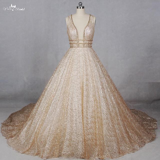 RSW1100 Real Photos Shiny Robe De Mariee Princess Gold Glitter ...