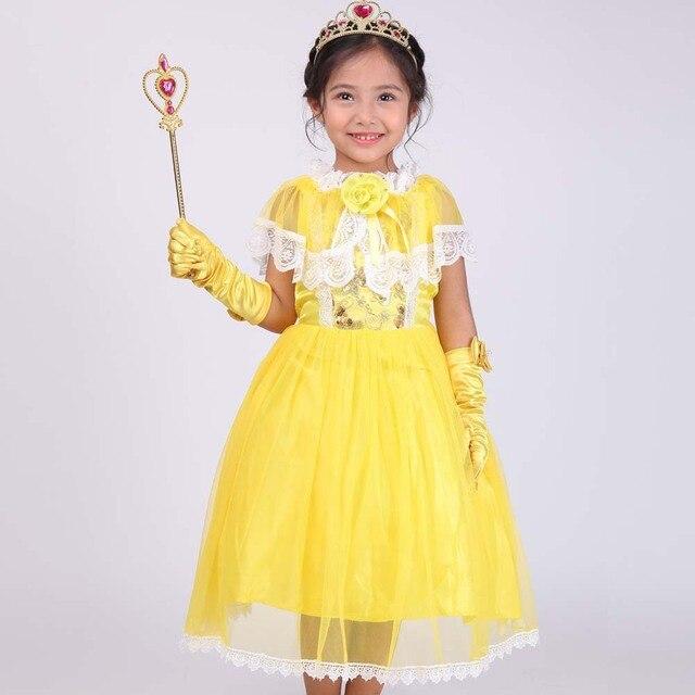 0b869ee4f26ee6 3-12Years Kids Meisje Schoonheid en Beest Belle Jurk kinderen Dag Carnaval  Kostuum Belle Prinsessenjurk