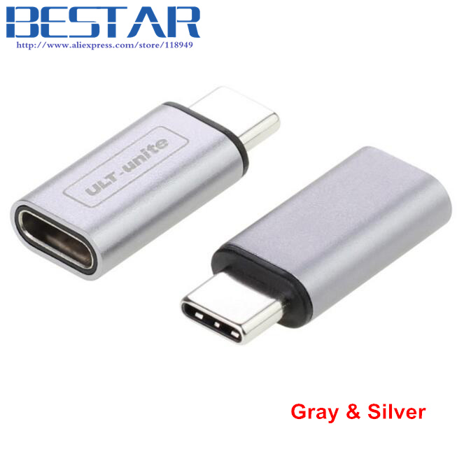 2017 NEW Silver & Gray 10Gbps Metal USB-C USB Type-C USB 3.1 type c male to female Adapter Connector converter USB3.1 type-c