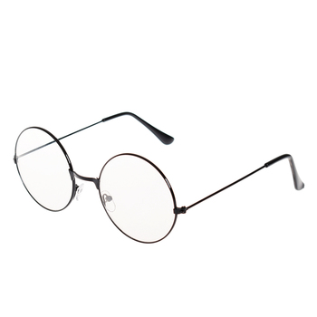 цена на New Women Men Retro Large Round Transparent Lens Glasses Metal Black Silver Gold Optical eyeglass frame spectacles Eyeglasses