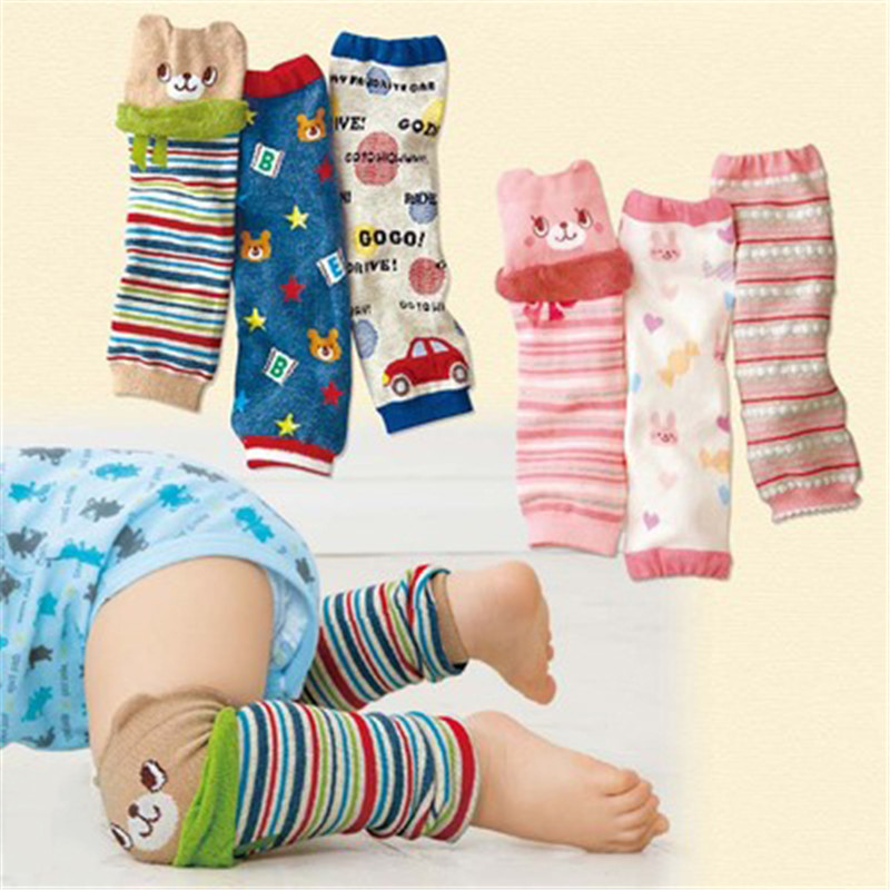 Ideacherry 1 Pair Baby Pads 30*8cm Cartoon 100% Cotton Crawling Safety Leg Warmers Socks Accessory Infants Knees Thick Protector
