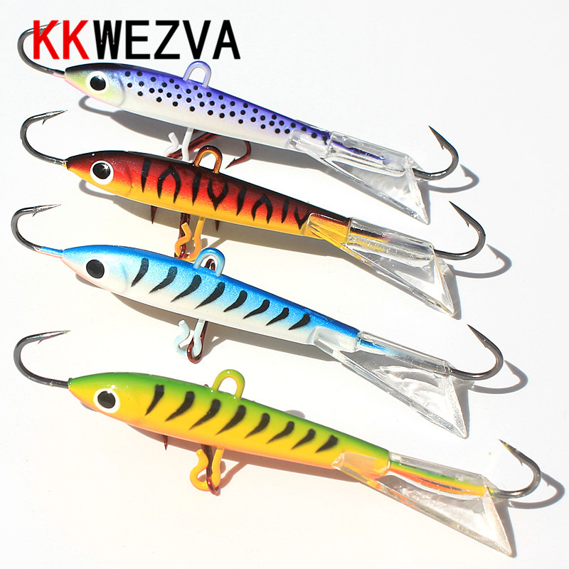 KKWEZVA 4pcs 83mm 18g Fishing Lure winter Ice Fishing Hard Bait Minnow Pesca Tackle Isca Artificial Bait Crankbait Swimbait 1pcs super long fishing lure plastic hard bait isca artificial bait crankbait 18cm 26g long minnow pesca fishing tackle swimbait