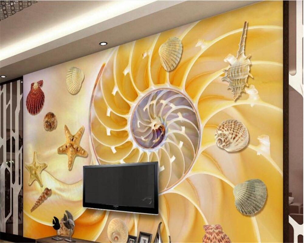 beibehang Deluxe wallpaper seashell starfish TV wall decoration ...