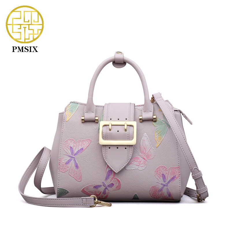 PMSIX Embossed Butterfly Designer China Leather Bag Luxury Fashion Women Handbags female leather shoulder bags P220060 pmsix autumn winter new women leather handbags embossed flower luxury designer shoulder bags fashion vintage tote bag p110023