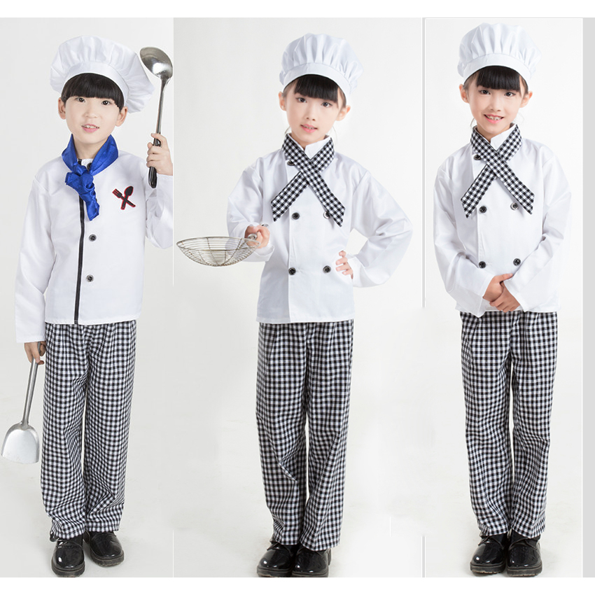 Kids Chef Uniform Kitchen Caps Cooking Drink Food Baking clothing boy girl women men Comfy Apron Mesh Patchwork cooking clothing