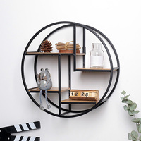 Wall Mounted Iron Shelf Round Floating Shelf Wall Storage Holder And Rack Shelf For Pantry Living Room Bedroom Kitchen Entryway|Decorative Shelves| |  -