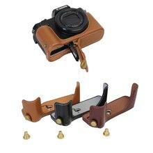 New Genuine Leather Video Camera Case For Canon G5X G5-X digital Camera half case bottom Bag Cover Black Coffee Brown