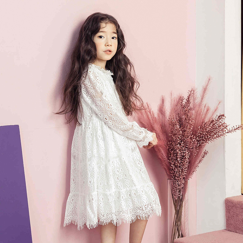 lace floral big girls dresses for party and wedding baby white long sleeve design girl clothes princess dress long spring summer цена