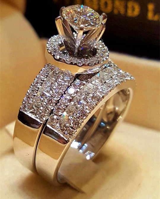คริสตัลหญิง Big Queen ชุดแหวนแฟชั่น 925 เงินชุดแต่งงานแหวนสัญญารักหมั้นแหวน