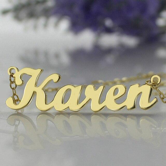 Freeshipping-Карен Стиль Имя Ожерелье Позолоченный За Серебро Инициалы Персонализированные Ювелирные Изделия Индивидуальные Ожерелье Идеальный Подарок