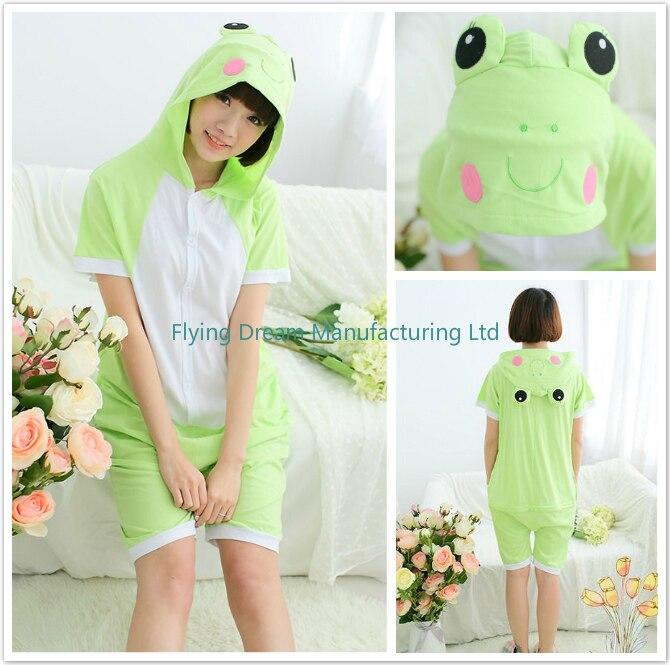 Cute Animal Green Frog Womens Men Adult Unisex Summer Onesie Cotton Funny Pajamas romper sleepwear with Hood
