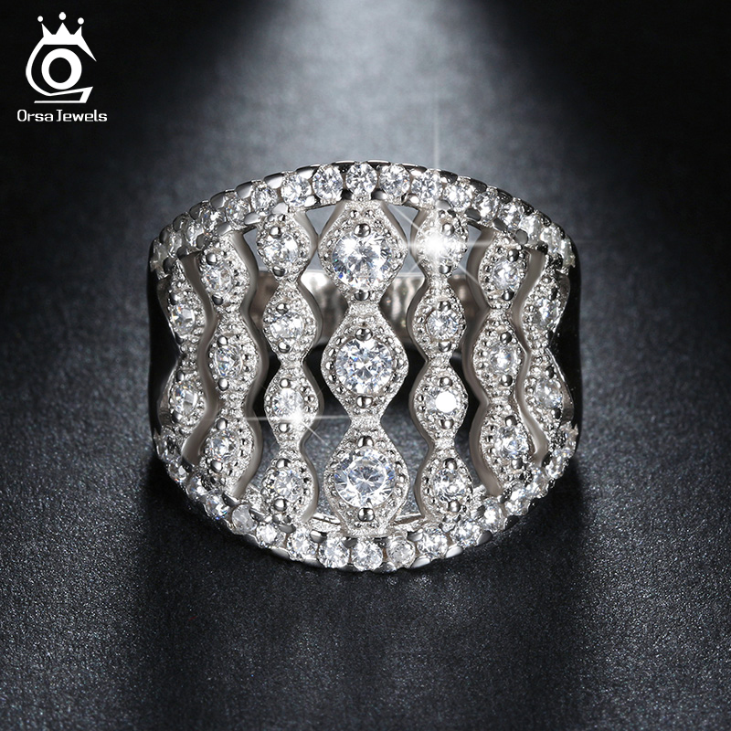 ORSA JEWELS Luxury 55 Pieces AAA Grade CZ Brilliant Ring Top Quality Silver Color Fashion Jewelry Rings for Women Wholesale OR88