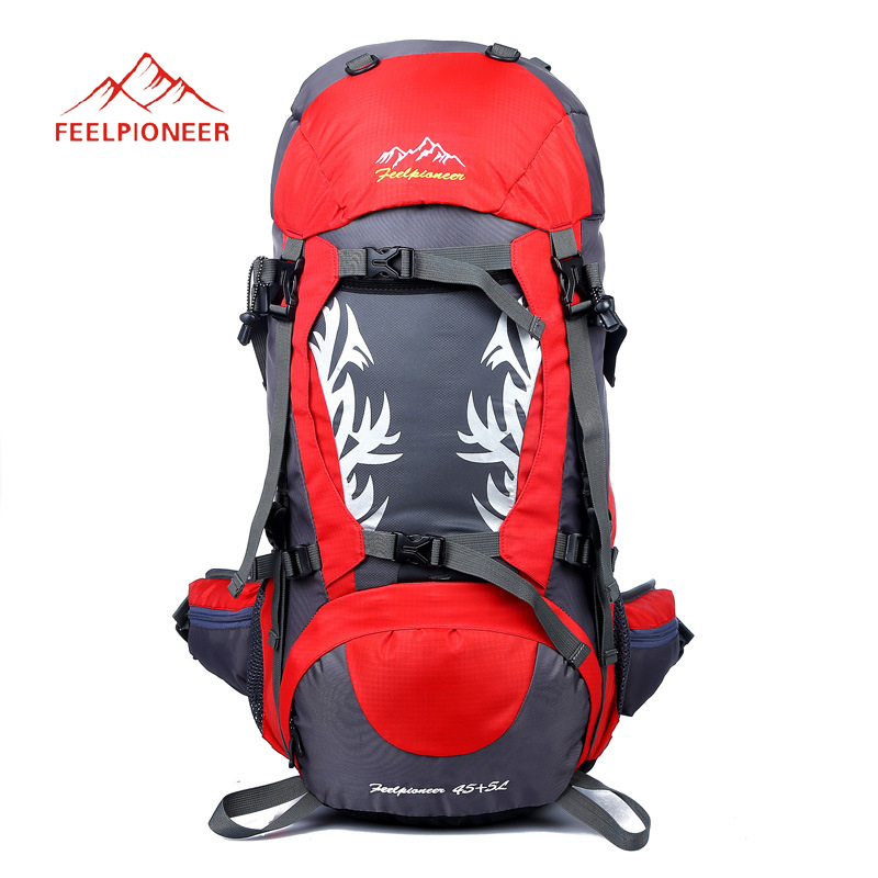 50L Sport Bag Outdoor Backpack Climbing Rucksack Waterproof Mountaineering Hiking Backpacks Molle Camping Bag with rain cover