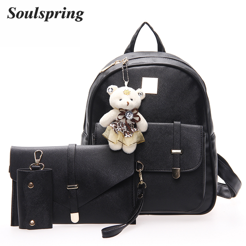Cute Bear 3Pcs/Set Small Women Backpacks School Bags For Teenage Girls Soft PU Leather Women Backpack Shoulder Bag Purse 2018