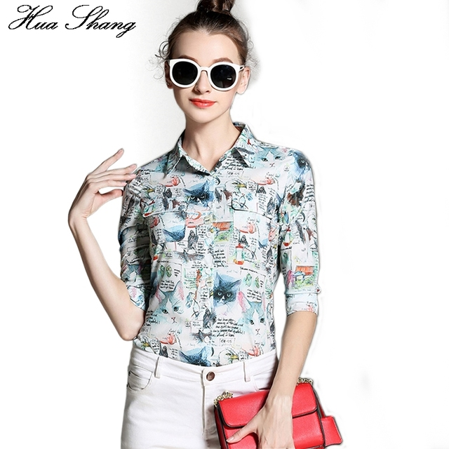 New Fashion Cat Print Women Formal Blouses Turn Down Collar Women Shirts Tops Plus Size Blusas Femininas