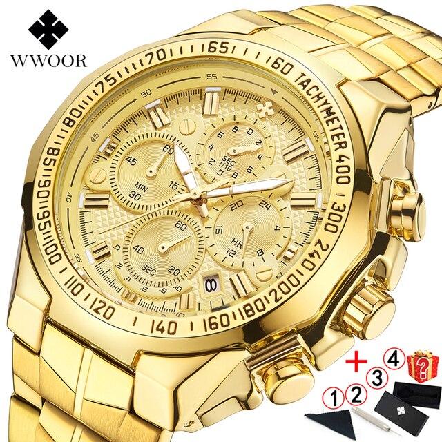 Relogio Masculino 2019 นาฬิกาผู้ชายแบรนด์หรู WWOOR Chronograph Big Dial นาฬิกาข้อมือชายกีฬา Golden นาฬิกาผู้ชาย 2019