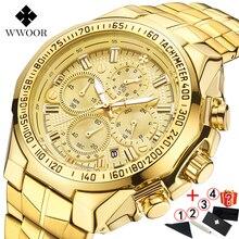 Часы наручные WWOOR мужские с большим циферблатом, брендовые Роскошные спортивные золотистые с хронографом, 2019, 2019