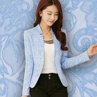 Spring V Neck Fashion Ladies Cardigan Blue Korean Slim Fit Ladies Jacket Women's Office Work Suit Jacket White Blue XL