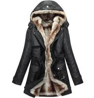 Faux Fur Lining Long Winter Jacket Women Warm Parkas With Hood Coat Patchwork Thick Windcheater Outerwear